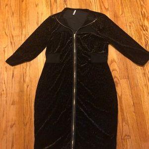 Leopard print suede zip-up dress